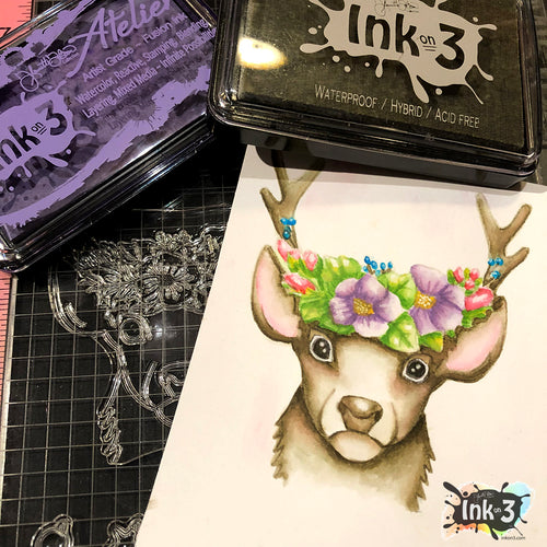 Example using Oh Deer stamps and Atelier inks by inkon3.com coloring by Fleurette