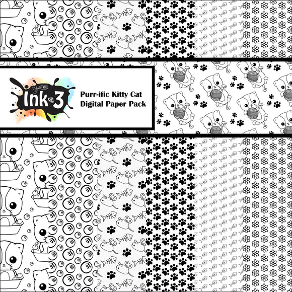Purr-ific Kitty Cats Digi Paper Pack