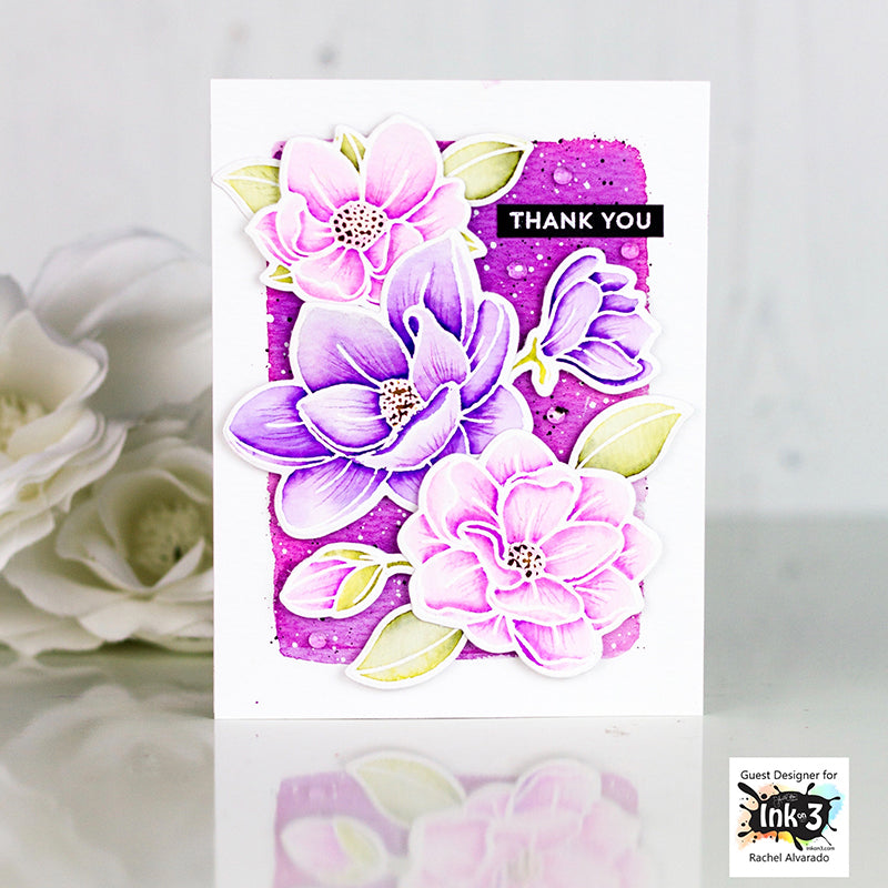 Card Example by Rachel Alvardo using Juicy Ink, Arctic White Embossing powder and Big Bold Magnolia clear stamps by inkon3.com Ink On 3