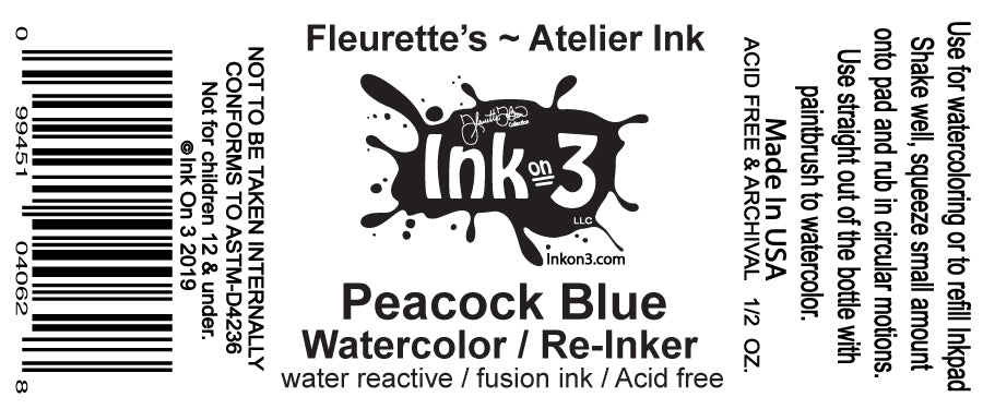 Atelier Watercolor / Re-inker Peacock Blue  inkon3.com