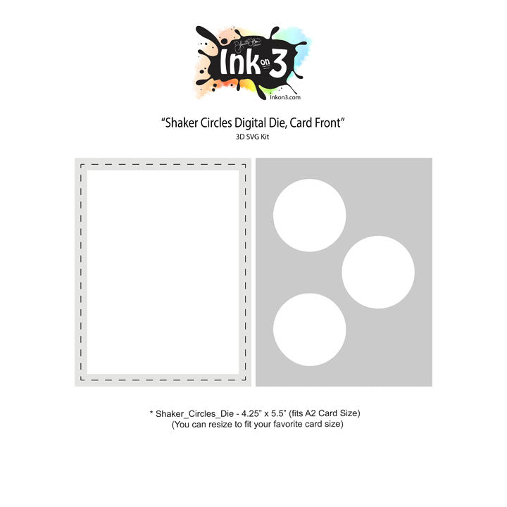 Shaker Circles Digital Die, Card Front SVG Kit Inkon3.com