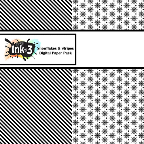 Snowflake & Stripes Digi Paper Pack