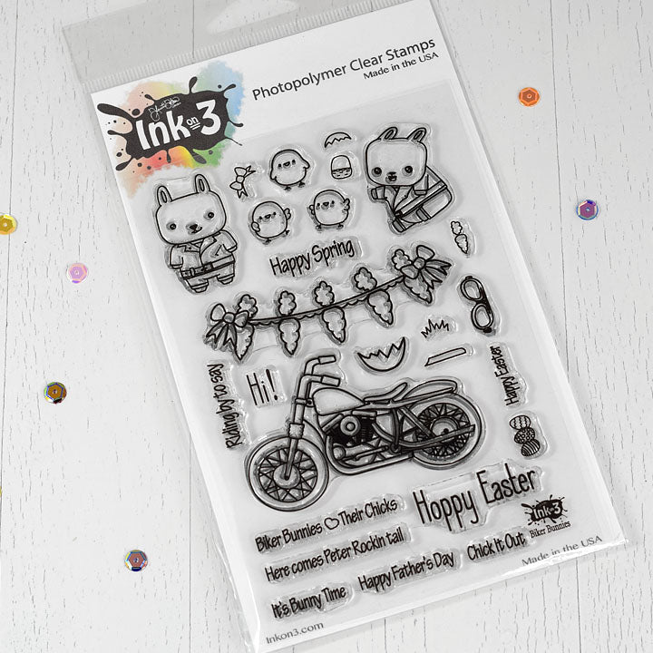 Biker Bunnies Clear Stamps inkon3.com