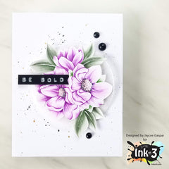 Card Example by Jaycee - No line coloring using Fadeout Ink & Big Bold Magnolias clear stamps by inkon3.com Ink On 3
