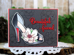 Card Example using Heels To You stamps and dies by Karen Hightower inkon3.com