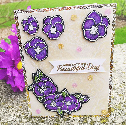 "Pansy Card example using ""Pansies Clear Stamp Set"""