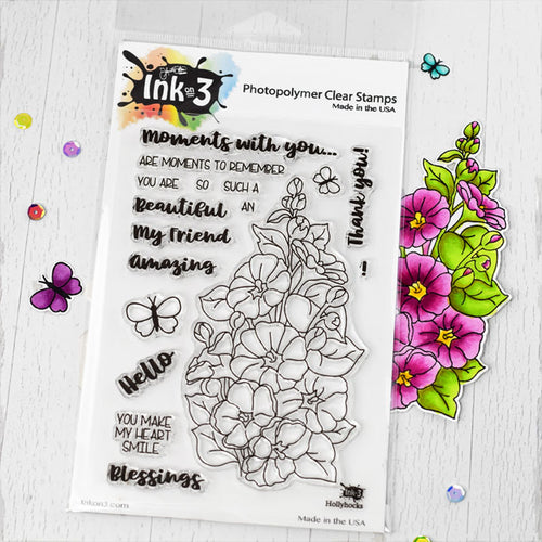 Hollyhocks 4x6 Clear Stamp set inkon3.com