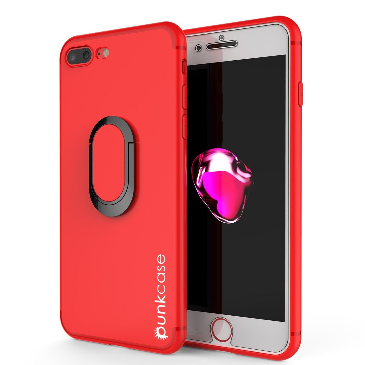 iPhone 8 PLUS Case, Punkcase Magnetix Protective TPU Cover W/ Kickstand, Tempered Glass Screen Protector [Red]