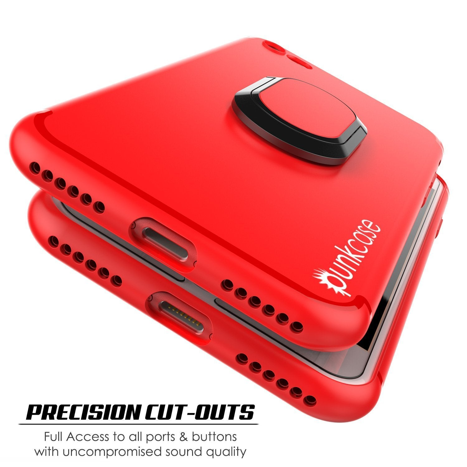 iPhone 8 Case, Punkcase Magnetix Protective TPU Cover W/ Kickstand, Tempered Glass Screen Protector [Red]