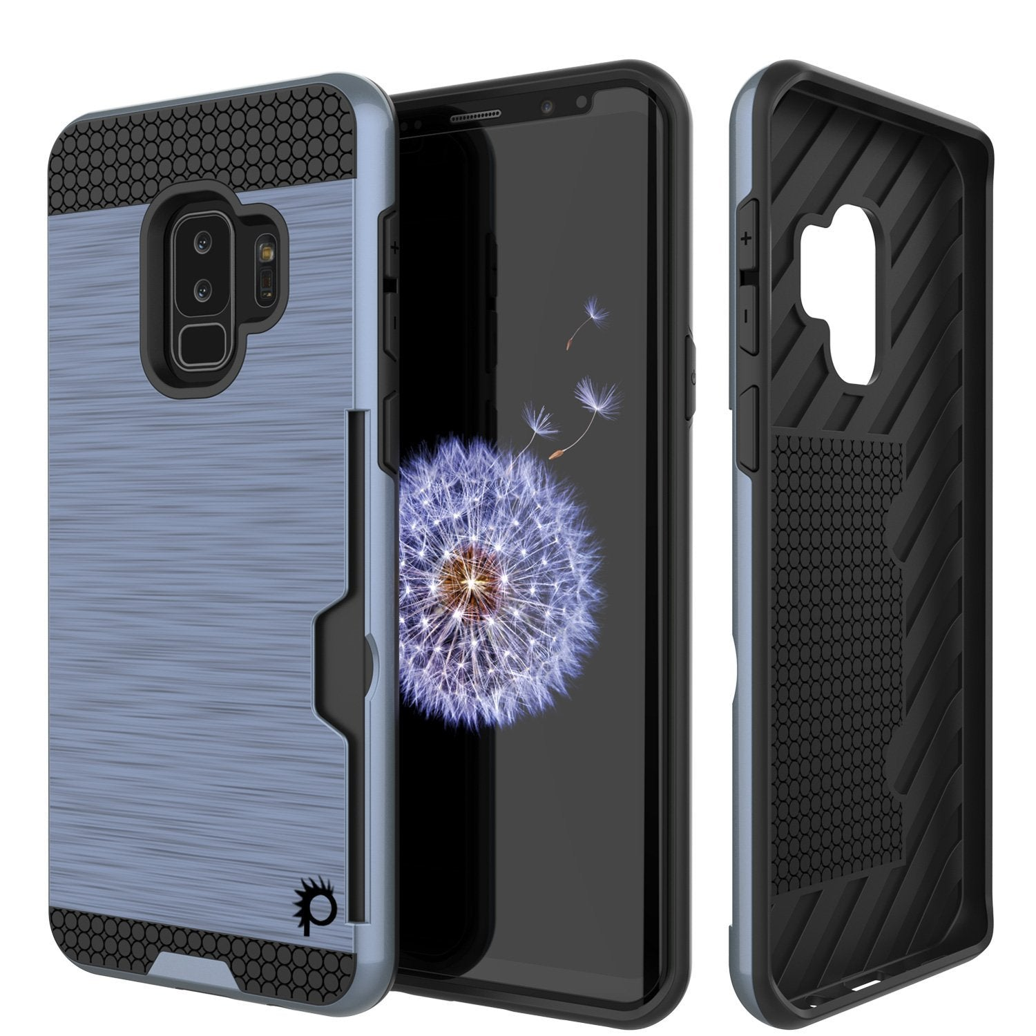 Galaxy S9 Plus Case, PUNKcase [SLOT Series] [Slim Fit] Dual-Layer Armor Cover w/Integrated Anti-Shock System, Credit Card Slot [Navy]