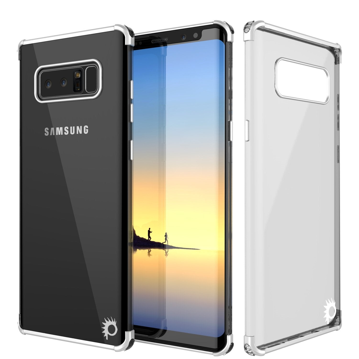 Note 8 Case, Punkcase [BLAZE SERIES] Protective Cover W/ PunkShield Screen Protector [Shockproof] [Slim Fit] for Samsung Galaxy Note 8 [Silver]