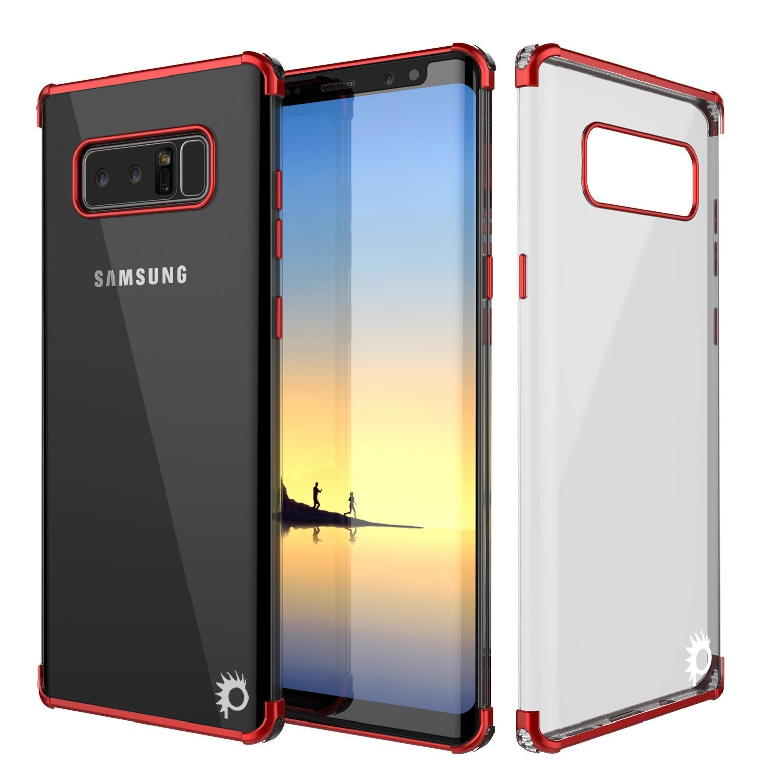 Note 8 Case, Punkcase [BLAZE SERIES] Protective Cover W/ PunkShield Screen Protector [Shockproof] [Slim Fit] for Samsung Galaxy Note 8 [Red]