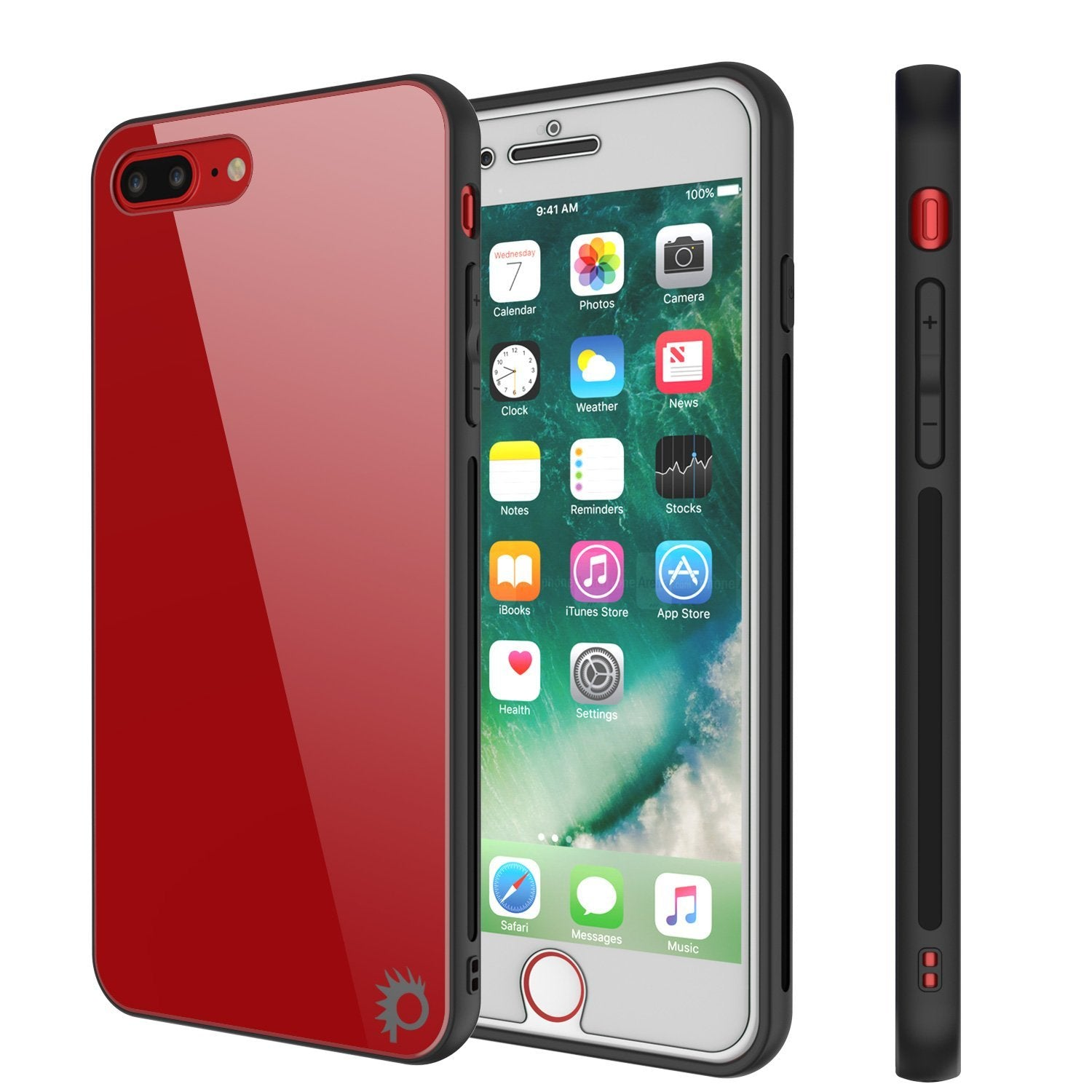 iPhone 8 PLUS Case, Punkcase GlassShield Ultra Thin Protective 9H Full Body Tempered Glass Cover W/ Drop Protection & Non Slip Grip for Apple iPhone 7 PLUS / Apple iPhone 8 PLUS (Red)