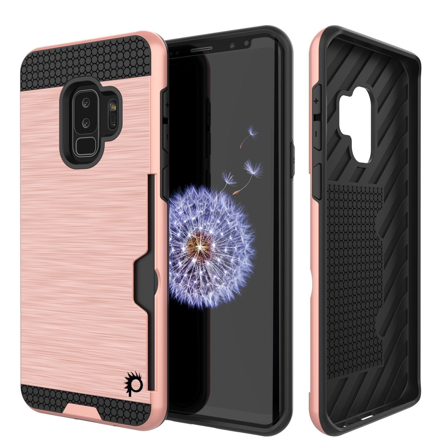 Galaxy S9 Plus Case, PUNKcase [SLOT Series] [Slim Fit] Dual-Layer Armor Cover w/Integrated Anti-Shock System, Credit Card Slot  [Rose Gold]