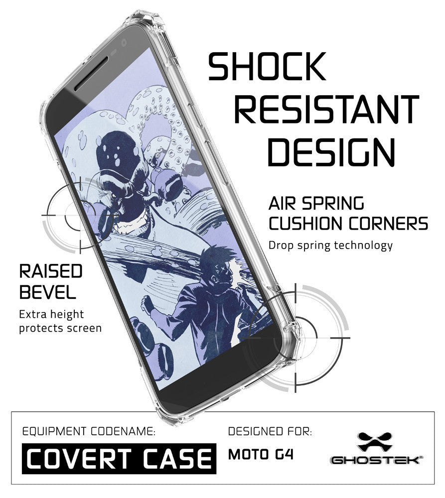 Moto G4 Case, Ghostek Covert Clear Series | Clear TPU | Explosion-Proof Screen Protector | Ultra Fit