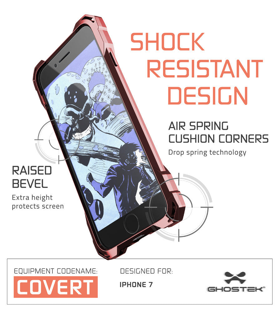 iPhone 7 Case, Ghostek® Covert Rose Pink, Premium Impact Protective Armor | Warranty