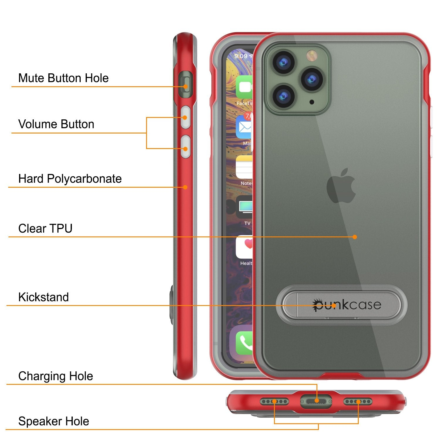 iPhone 12 Pro Max Case, PUNKcase [LUCID 3.0 Series] [Slim Fit] Protective Cover w/ Integrated Screen Protector [Red]
