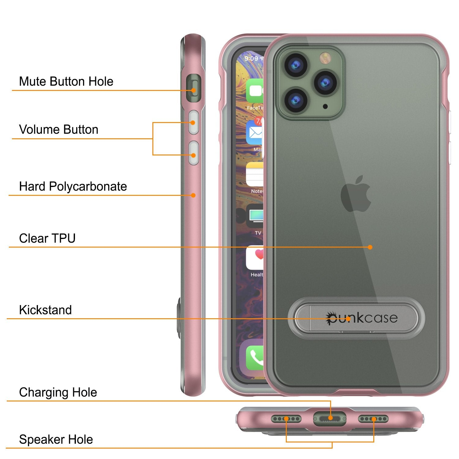 iPhone 12 Pro Max Case, PUNKcase [LUCID 3.0 Series] [Slim Fit] Protective Cover w/ Integrated Screen Protector [Rose Gold]