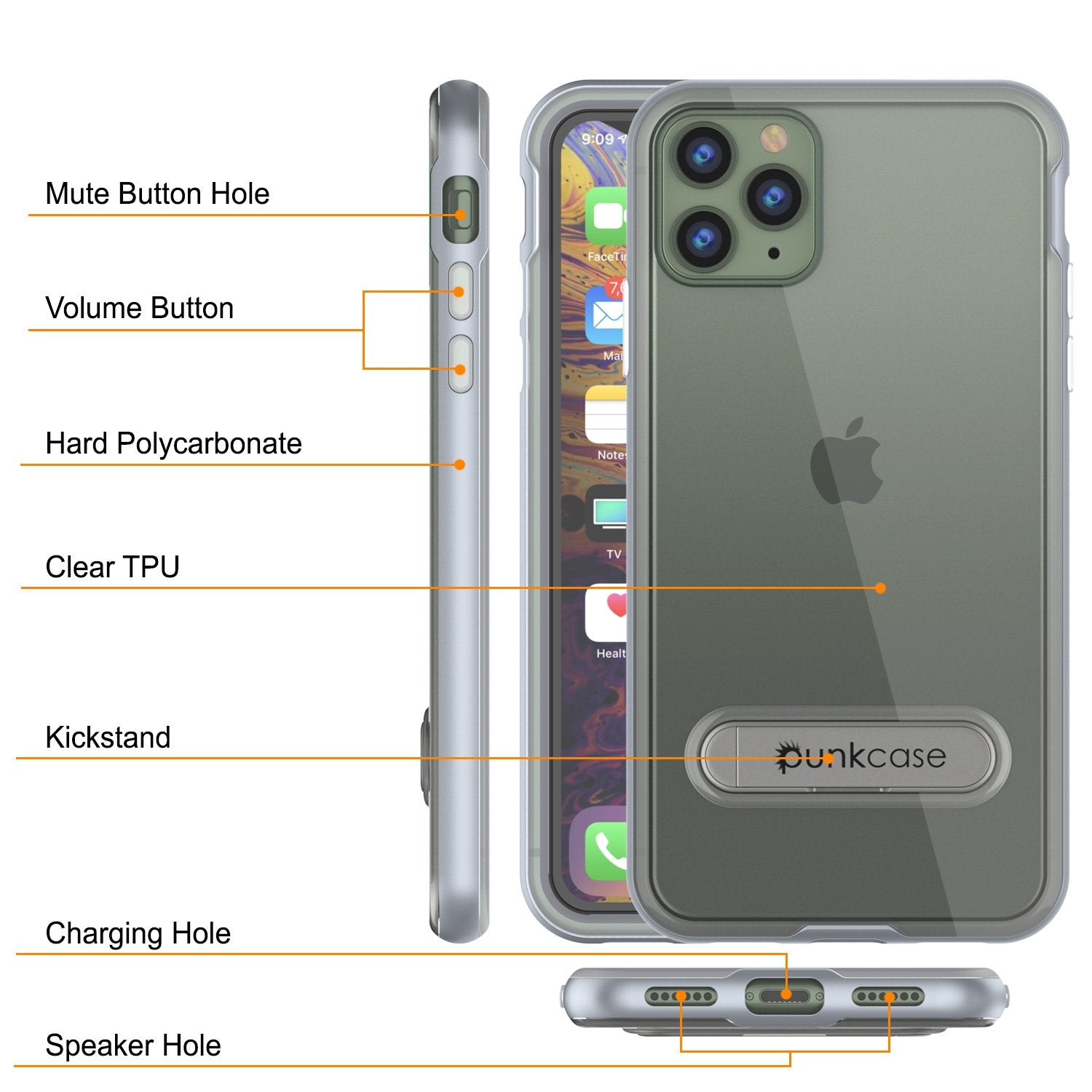 iPhone 12 Pro Max Case, PUNKcase [LUCID 3.0 Series] [Slim Fit] Protective Cover w/ Integrated Screen Protector [Silver]