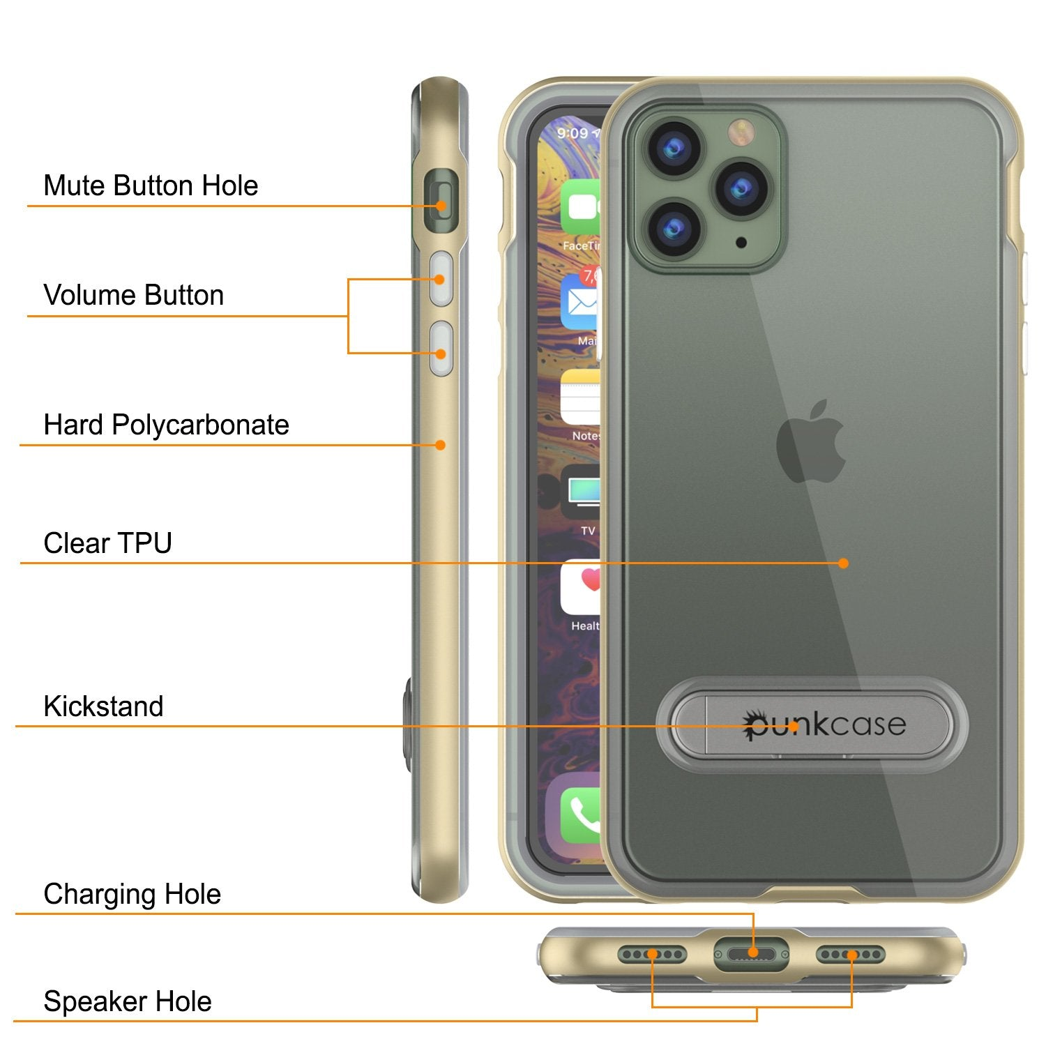iPhone 12 Pro Max Case, PUNKcase [LUCID 3.0 Series] [Slim Fit] Protective Cover w/ Integrated Screen Protector [Gold]