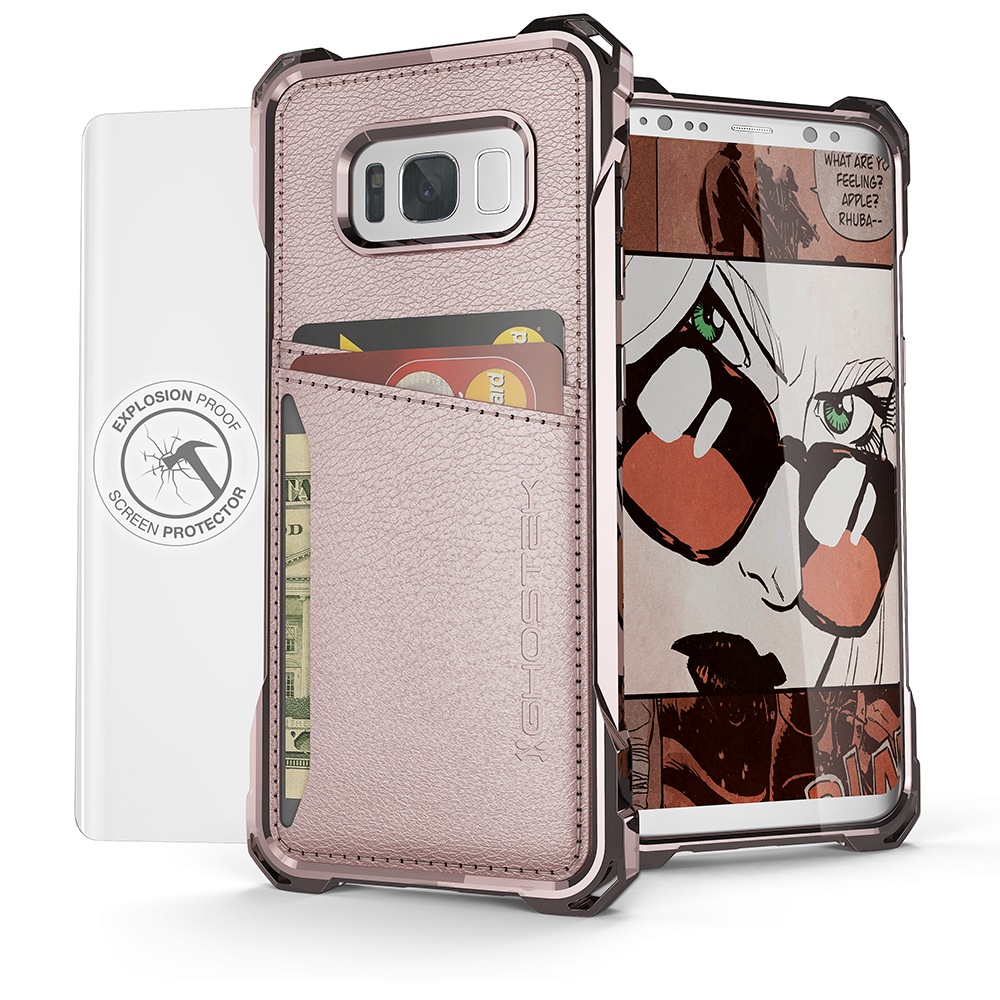 Galaxy S8+ Plus Wallet Case, Ghostek Exec Pink Series | Slim Armor Hybrid Impact Bumper | TPU PU Leather Credit Card Slot Holder Sleeve Cover