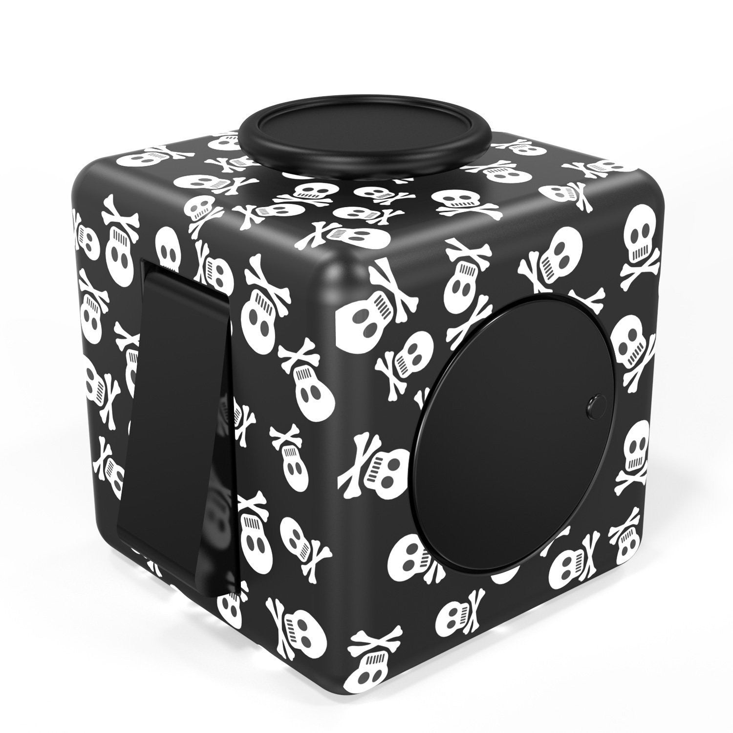 FIDPRO Fidget Cube, Silent Dice Toy - Click, Flip, Glide, Spin, Rub & Roll, Ultimate Hexagon with Quiet Clicker for Increased Focus & Attention and Stress & Anxiety Relief [SKULL]
