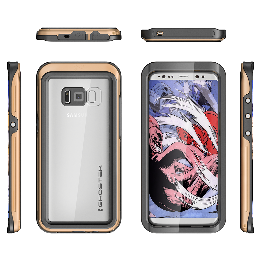 Galaxy S8 Waterproof Case, Ghostek Atomic 3 Series| Underwater | Shockproof | Dirt-proof | Snow-proof | Aluminum Frame | Ultra Fit | Swimming | (Gold)