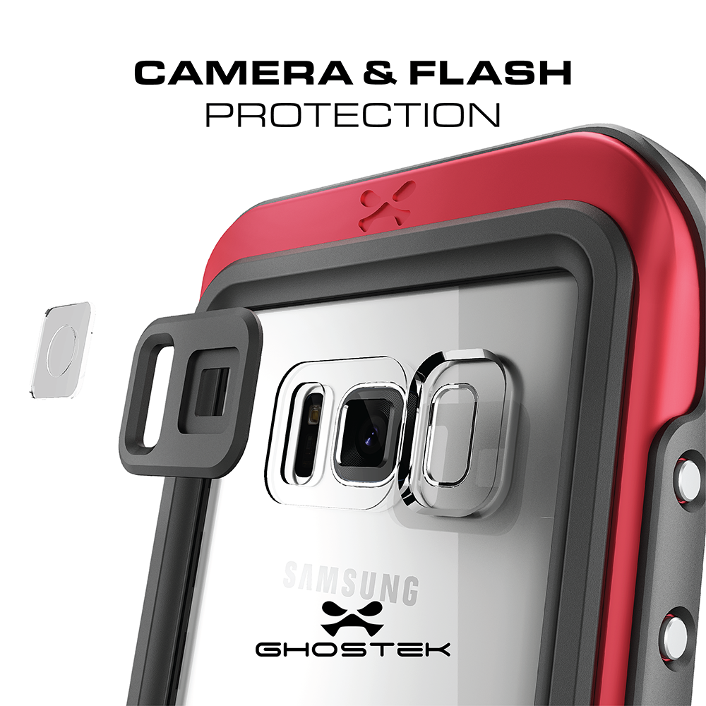 los angeles 2ae41 e25e8 Galaxy S8 Waterproof Case, Ghostek Atomic 3 Series| Underwater | Shockproof  | Dirt-proof | Snow-proof | Aluminum Frame | Ultra Fit | Swimming | (Red)