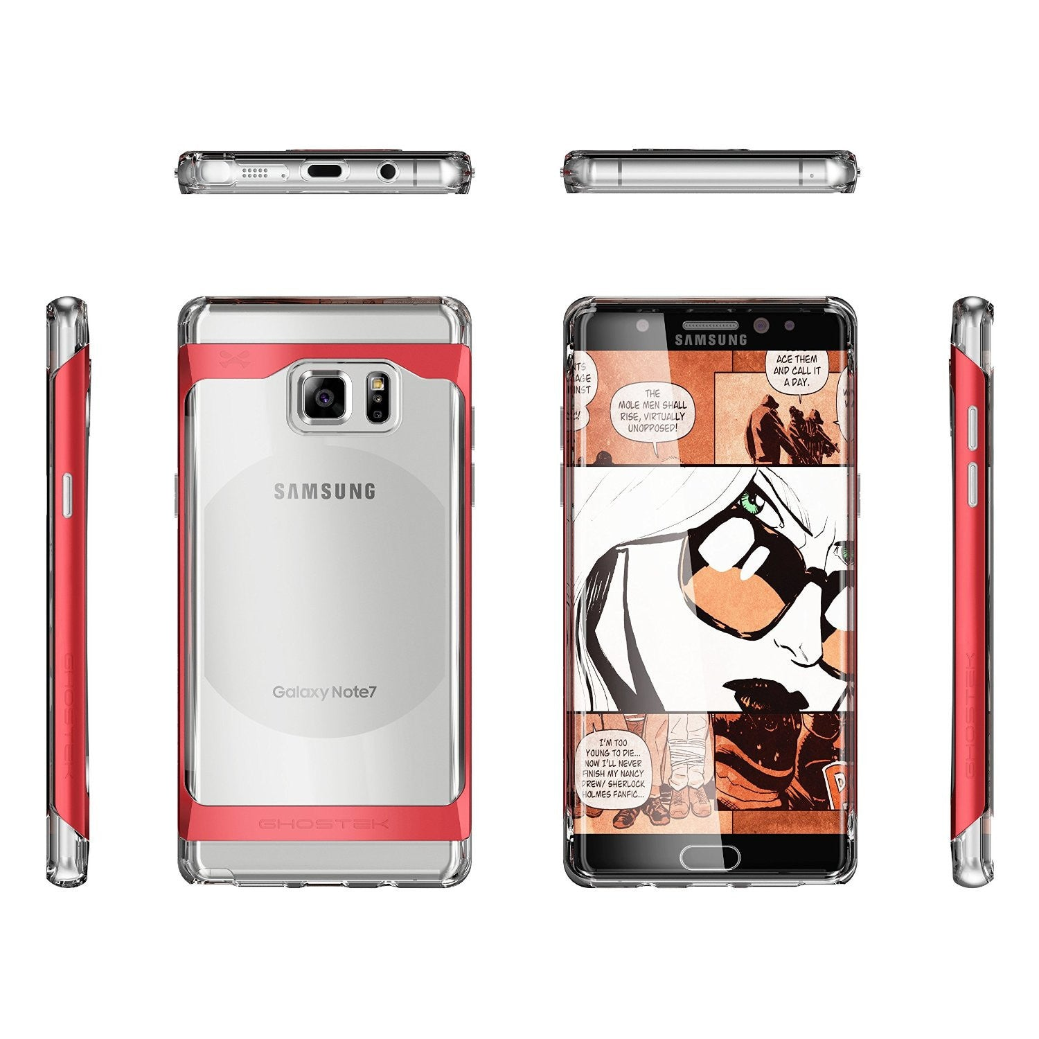 Galaxy Note 7 Case, Ghostek® 2.0 Red Series w/ Explosion-Proof Screen Protector | Aluminum Frame
