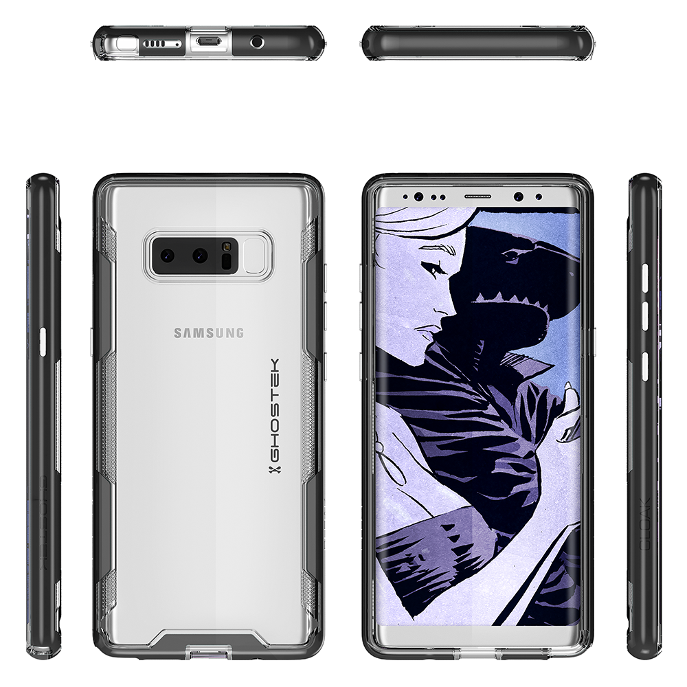 Galaxy Note 8 Case, Ghostek Cloak 3 Galaxy Note 8 Clear Transparent Bumper Case Note 8 2017 | BLACK