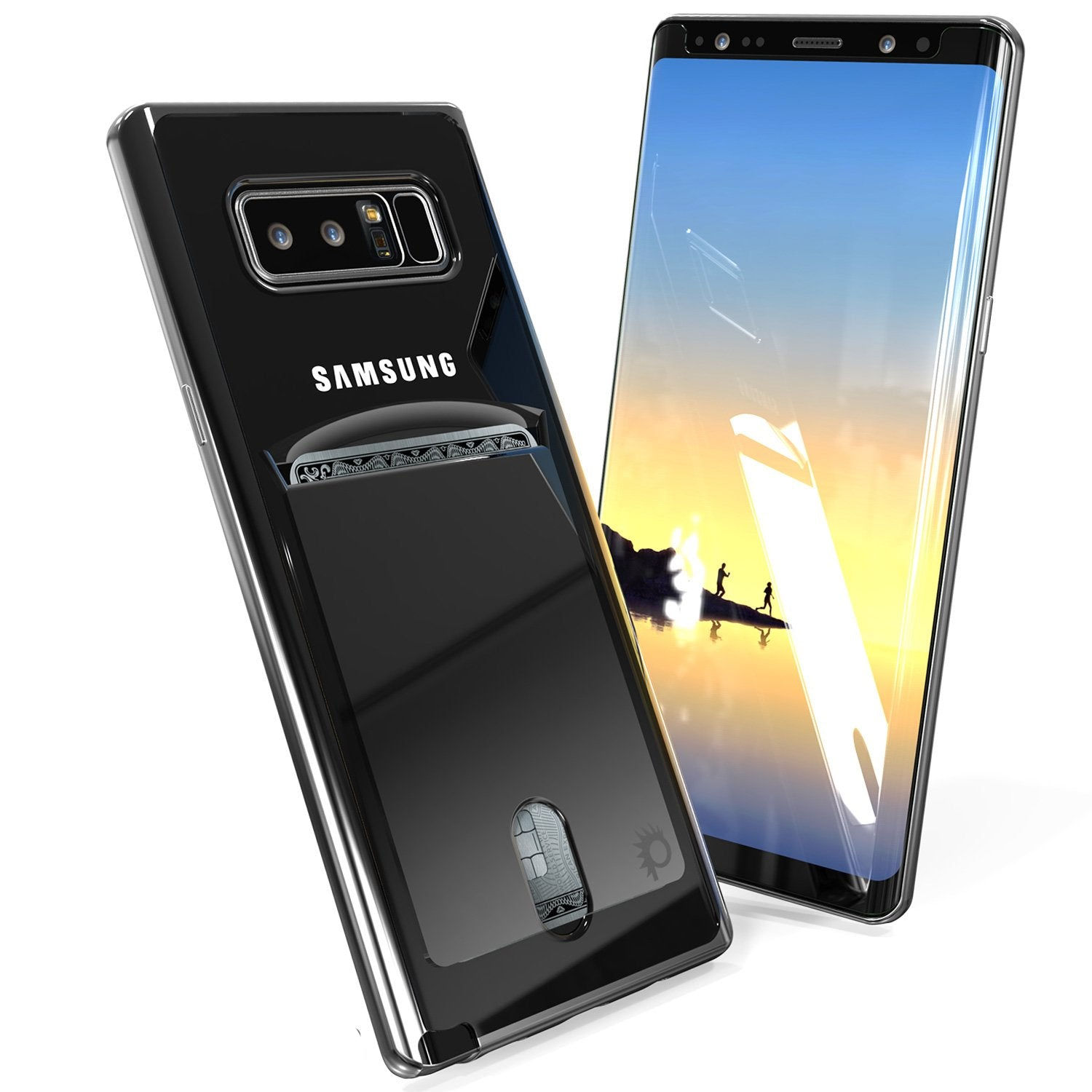 Galaxy Note 8 Case, PUNKCASE® LUCID Black Series | Card Slot | SHIELD Screen Protector | Ultra fit