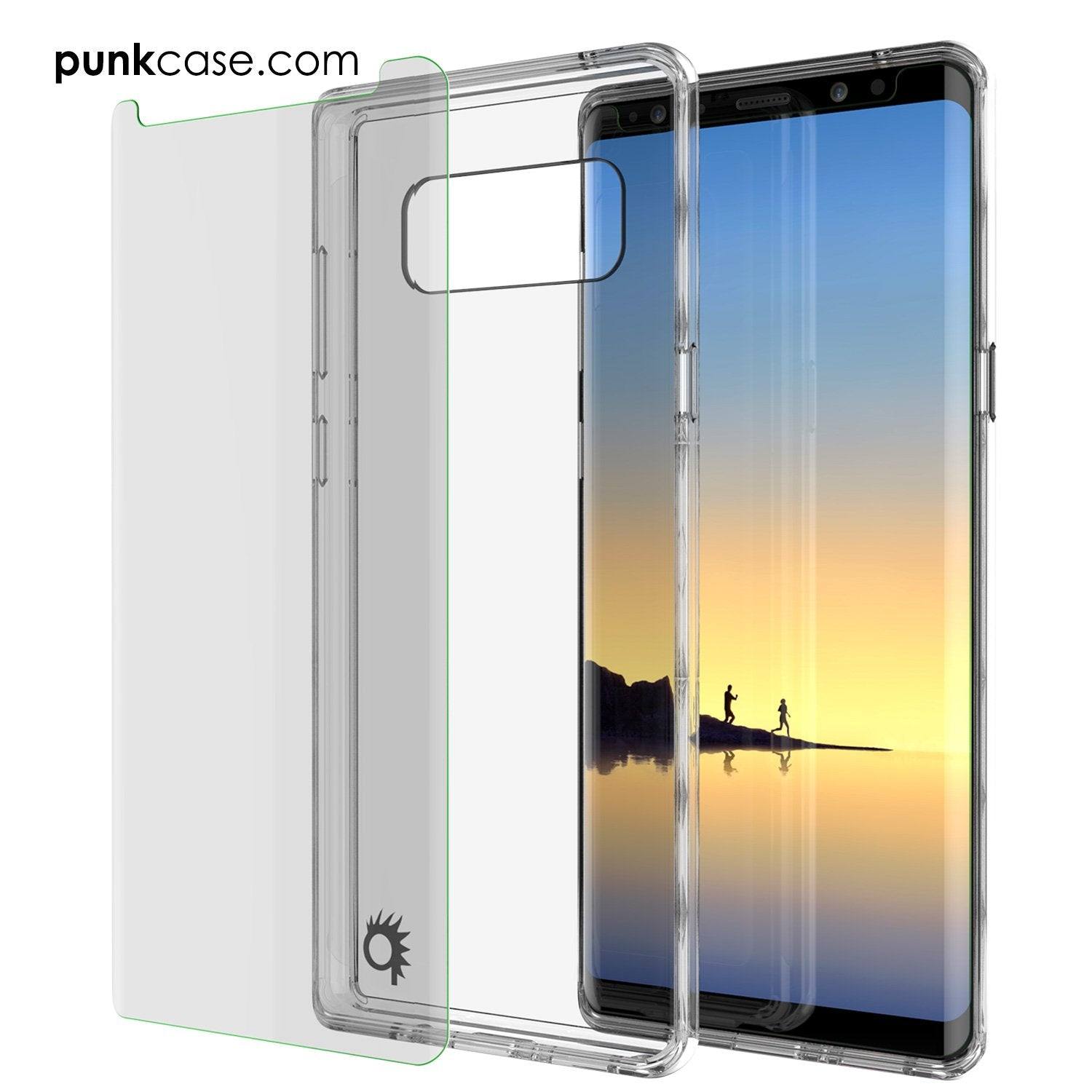 Galaxy Note 8 Case, PUNKcase [LUCID 2.0 Series] [Slim Fit] Armor Cover w/Integrated Anti-Shock System & Screen Protector [Crystal Black]