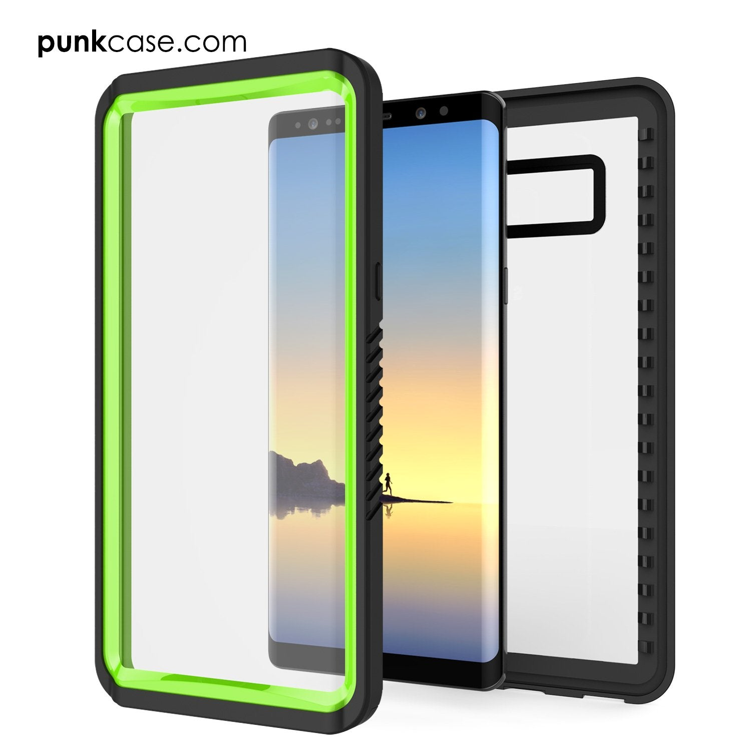 Galaxy Note 8 Case, Punkcase [Extreme Series] [Slim Fit] [IP68 Certified] [Shockproof] Armor Cover W/ Built In Screen Protector [Light Green]