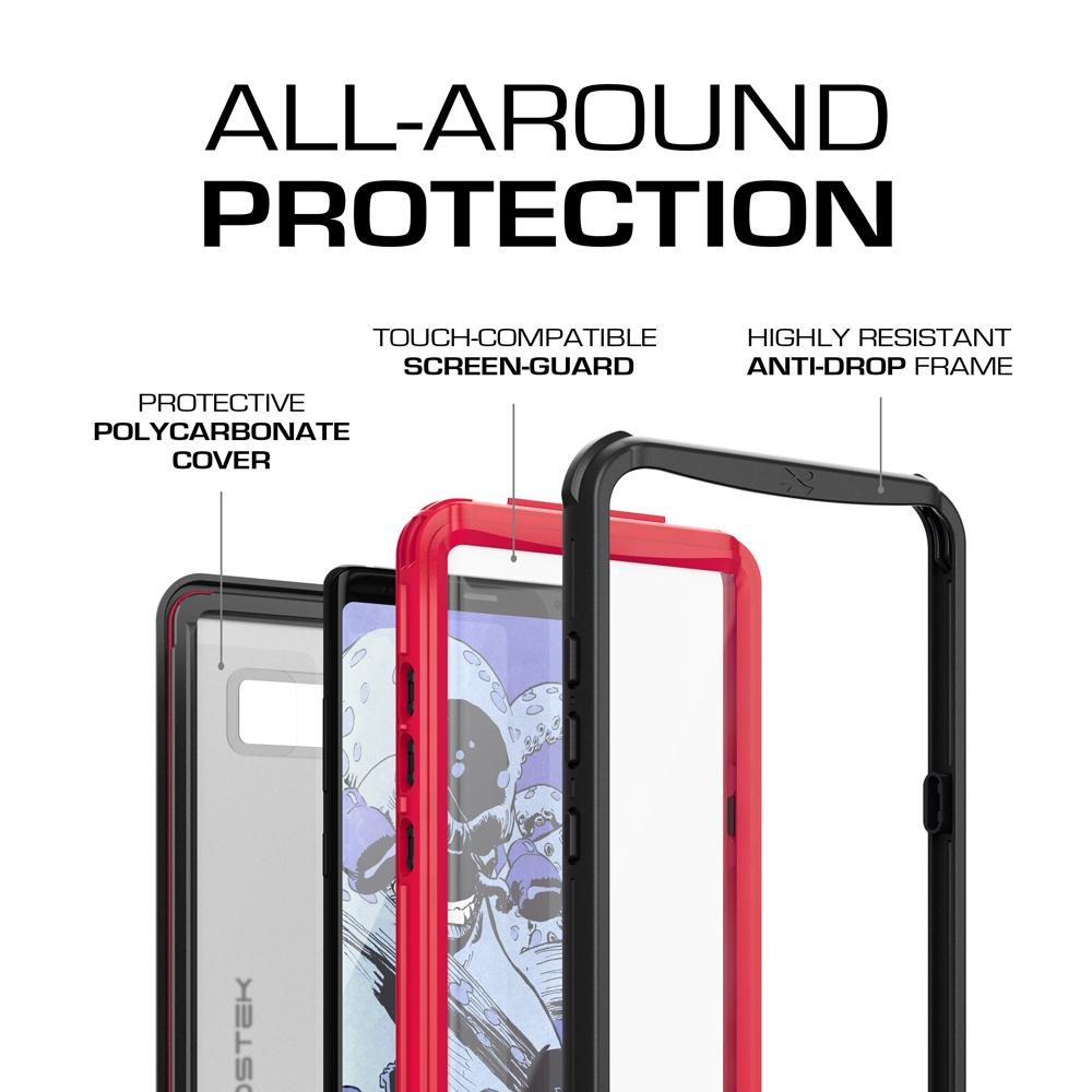 Galaxy Note 8, Ghostek Nautical Galaxy Note 8 Case Military Grade Armor Waterproof Cover | Red