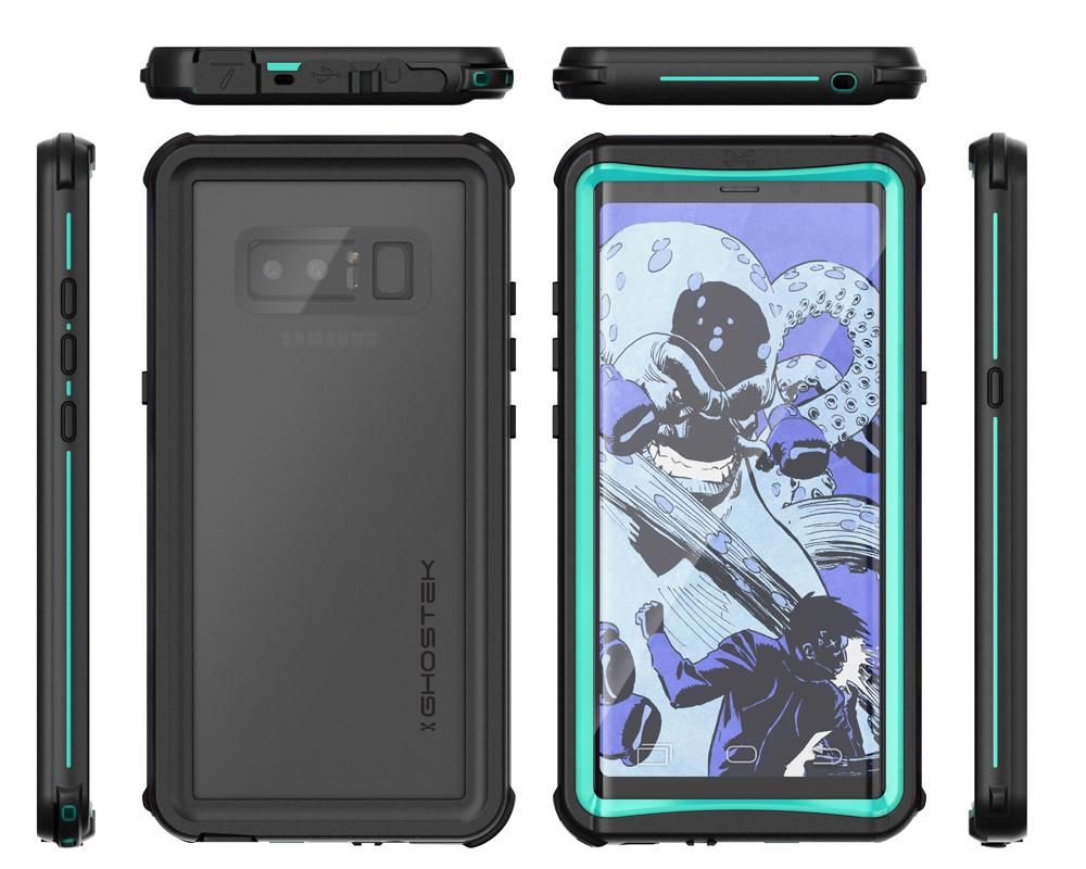 Galaxy Note 8, Ghostek Nautical Galaxy Note 8 Case Military Grade Armor Waterproof Cover | Teal