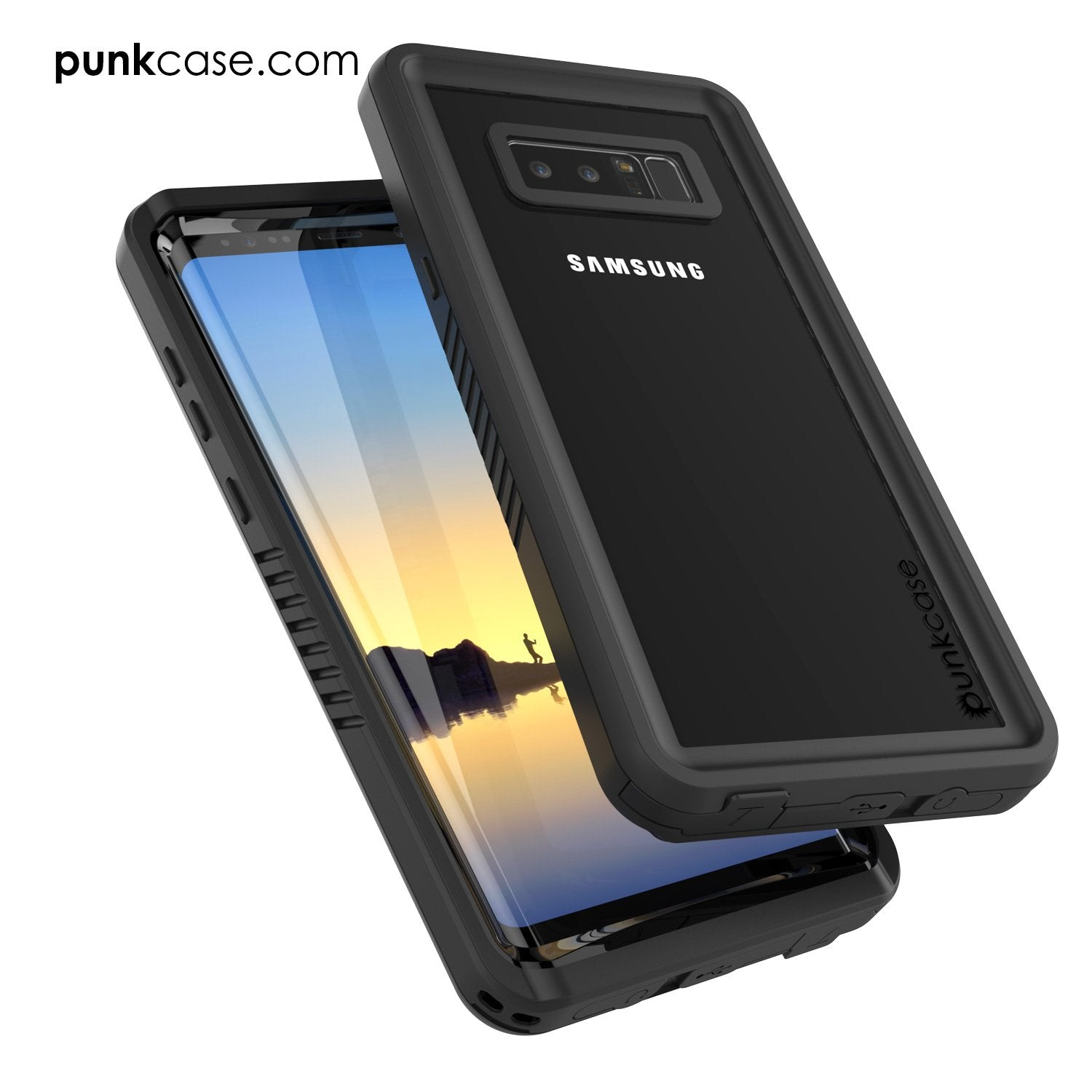Galaxy Note 8 Case, Punkcase [Extreme Series] [Slim Fit] [IP68 Certified] [Shockproof] Armor Cover W/ Built In Screen Protector [Black]