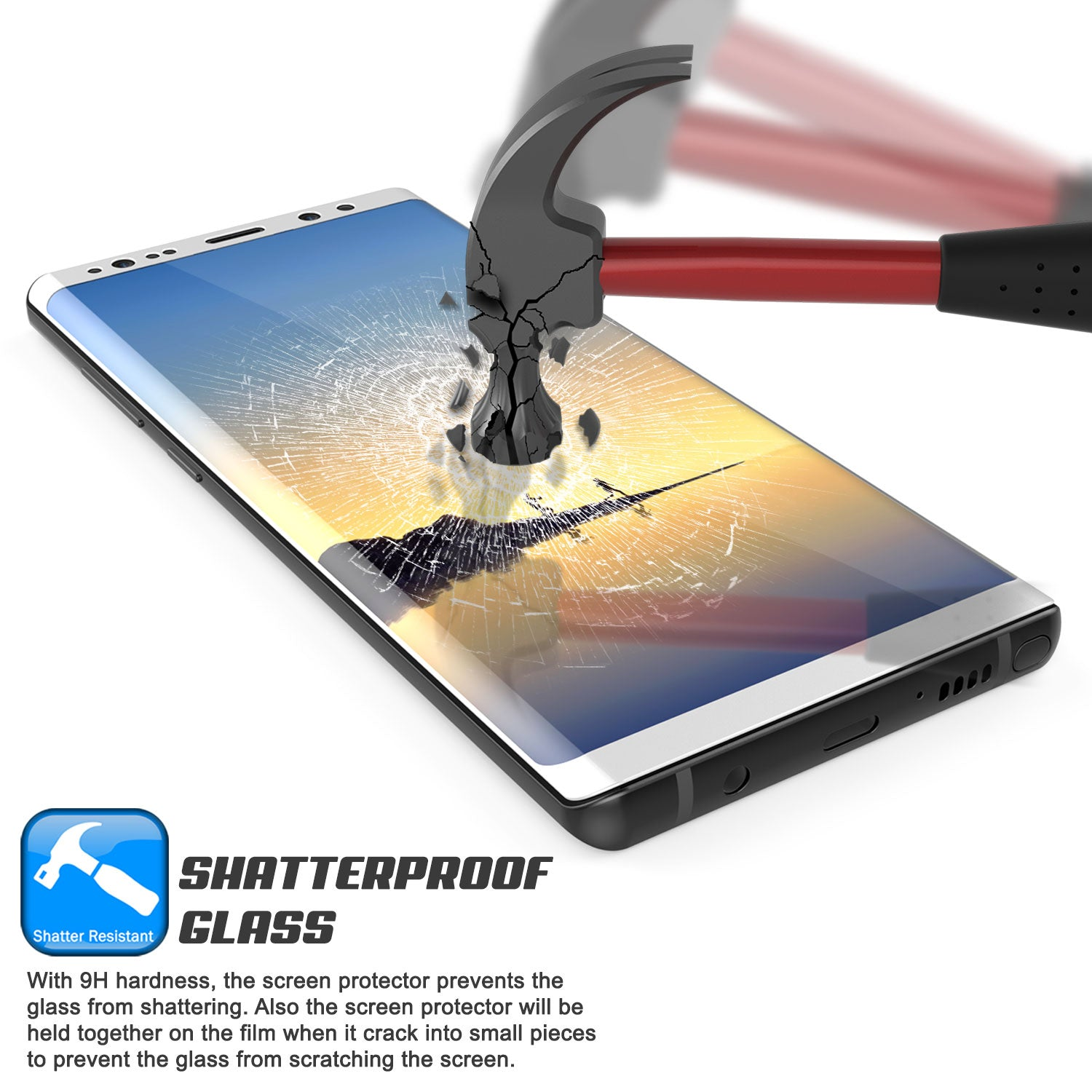 Galaxy Note 8  White Punkcase Glass SHIELD Tempered Glass Screen Protector 0.33mm Thick 9H Glass