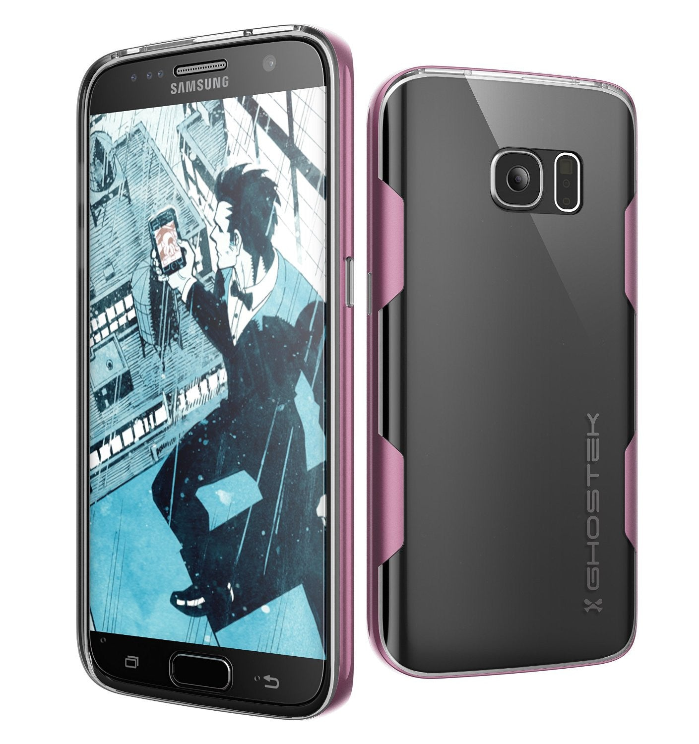 Galaxy S7 Case, Ghostek Cloak Series Pink  Slim Premium Protective Hybrid Impact Glass Armor