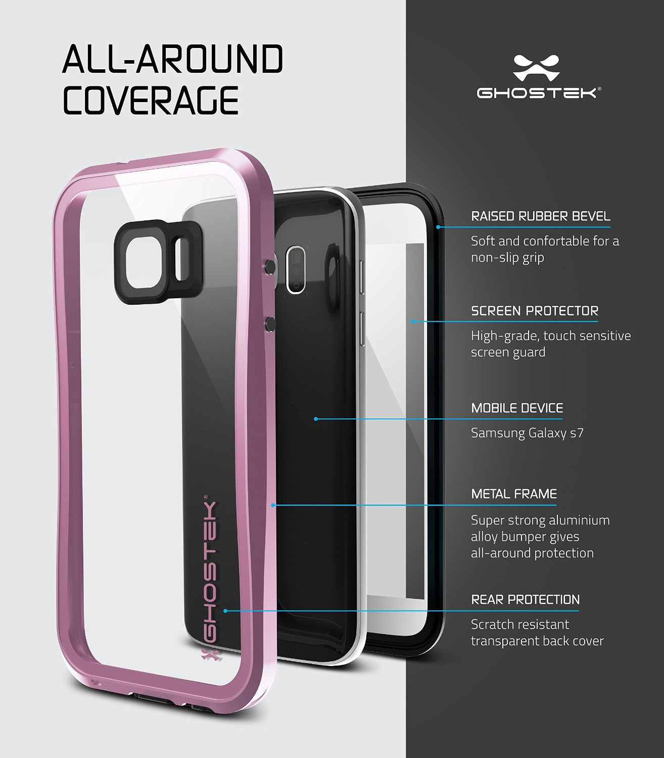 Galaxy S7 Waterproof Case, Ghostek® Atomic 2.0 Pink Water/Shock/Dirt/Snow Proof | Lifetime Warranty