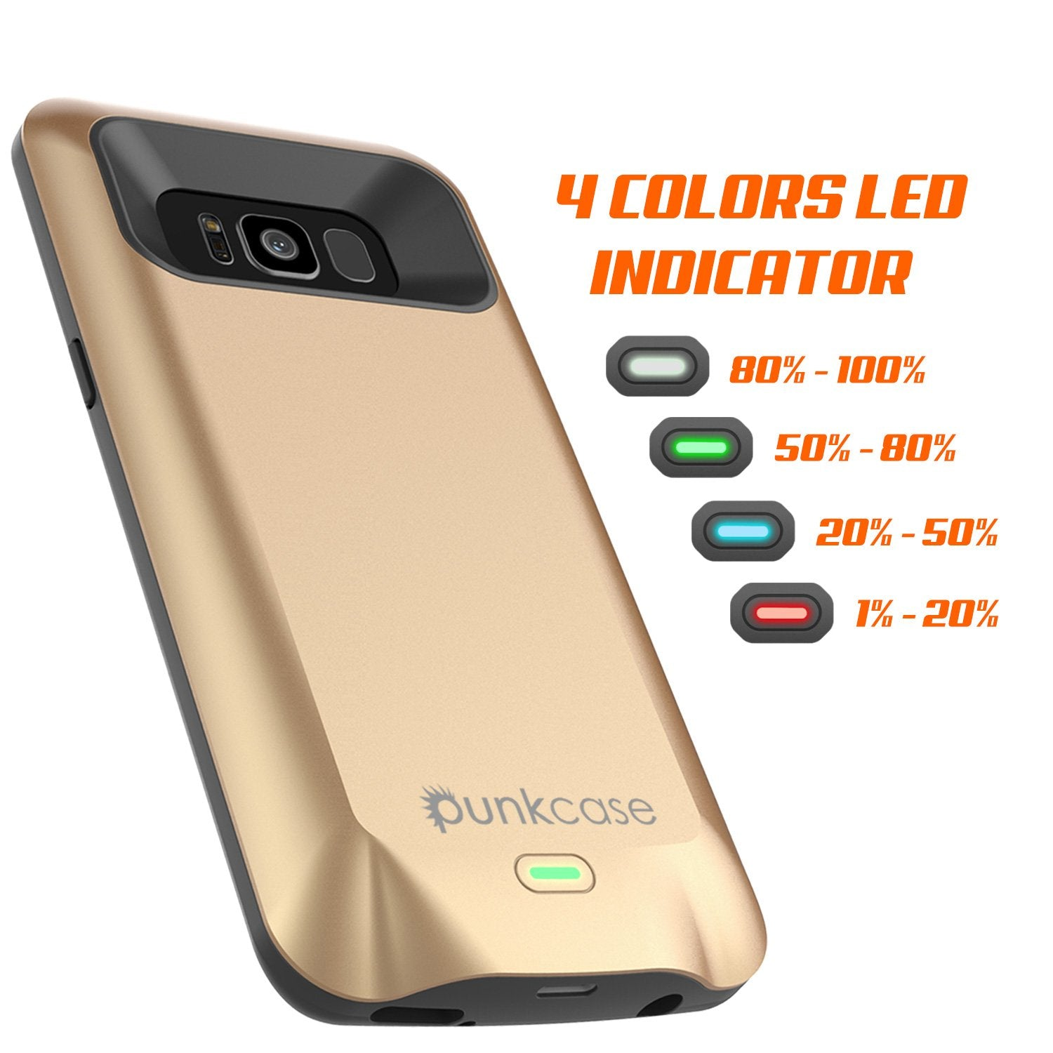 Galaxy S8 PLUS Battery Case, Punkcase 5500mAH Charger Case W/ Screen Protector | Integrated Kickstand & USB Port | IntelSwitch [Gold]
