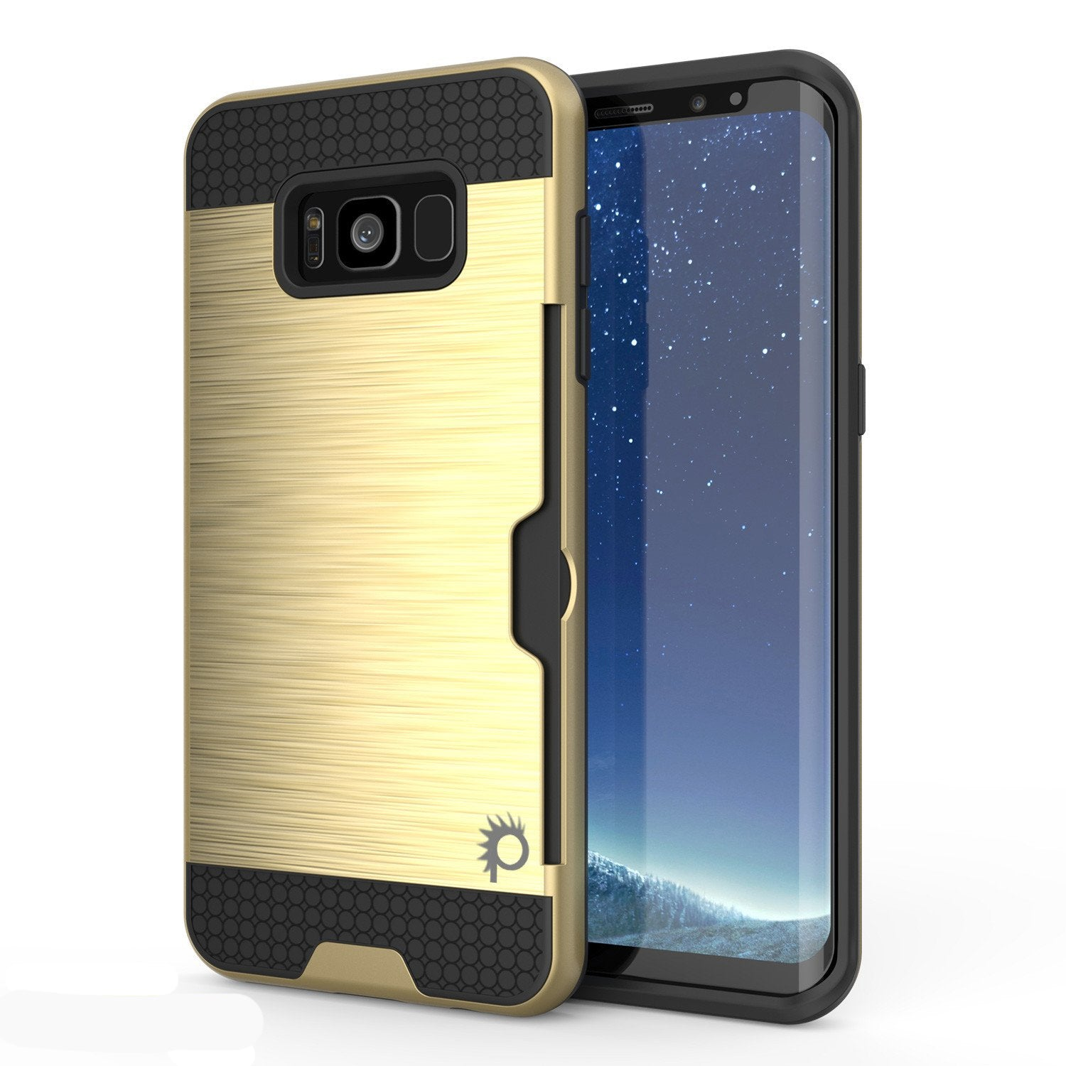 Galaxy S8 Case, PUNKcase [SLOT Series] [Slim Fit] Dual-Layer Armor Cover w/Integrated Anti-Shock System, Credit Card Slot [Gold]
