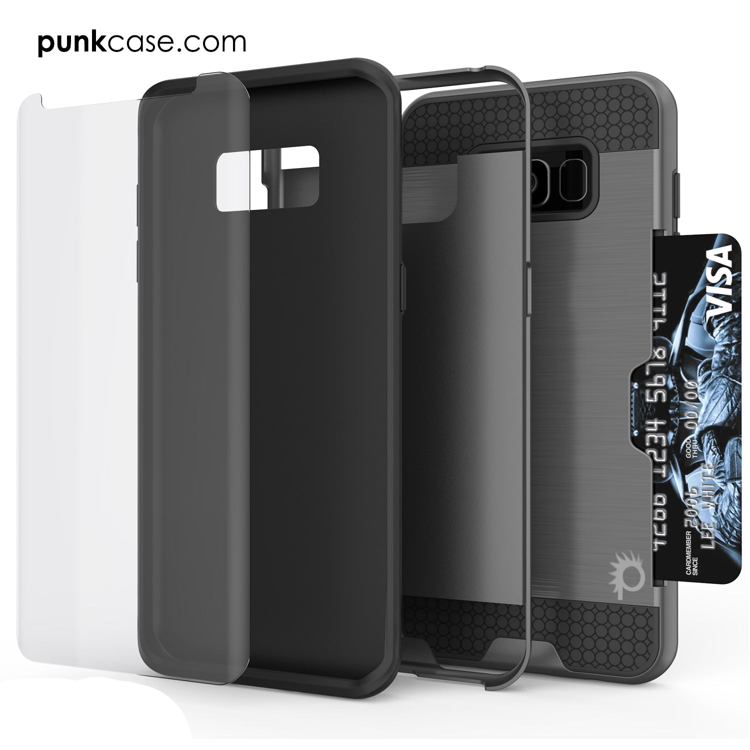 Galaxy S8 Case, PUNKcase [SLOT Series] [Slim Fit] Dual-Layer Armor Cover w/Integrated Anti-Shock System, Credit Card Slot [Grey]