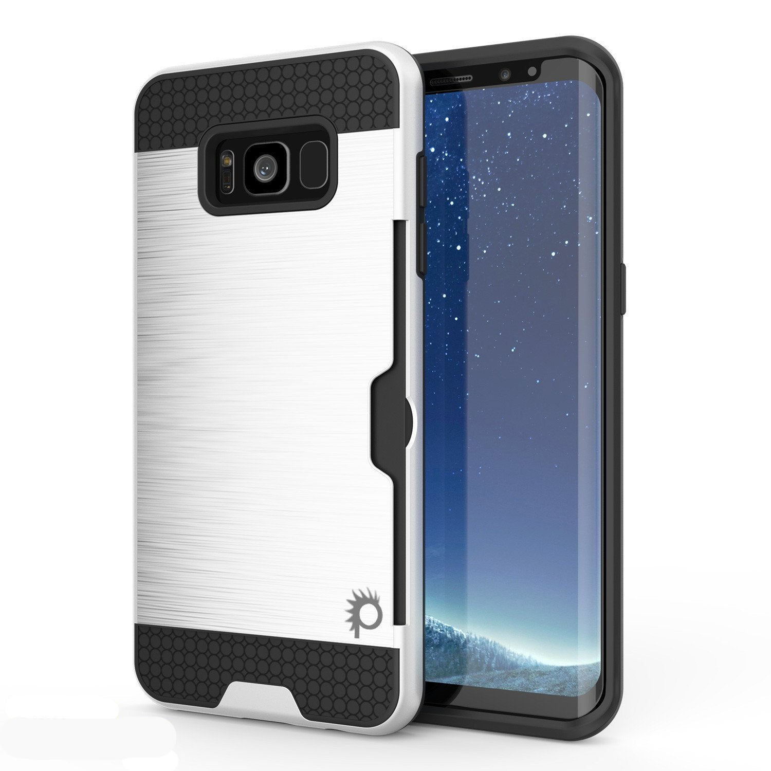 Galaxy S8 Case, PUNKcase [SLOT Series] [Slim Fit] Dual-Layer Armor Cover w/Integrated Anti-Shock System, Credit Card Slot [White]