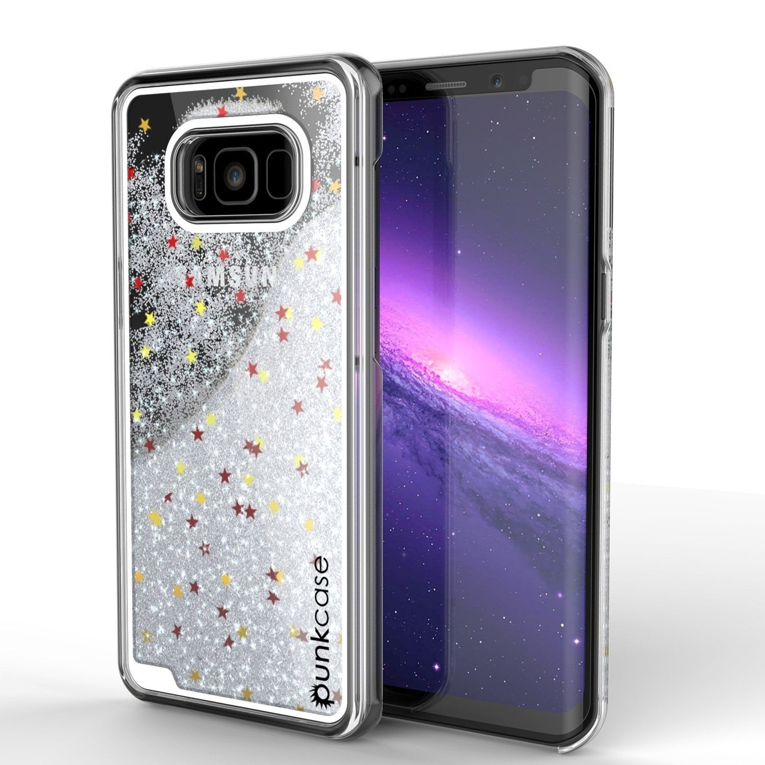 Galaxy S8 Case, Punkcase [Liquid Series] Protective Dual Layer Floating Glitter Cover + PunkShield Screen Protector [Silver]
