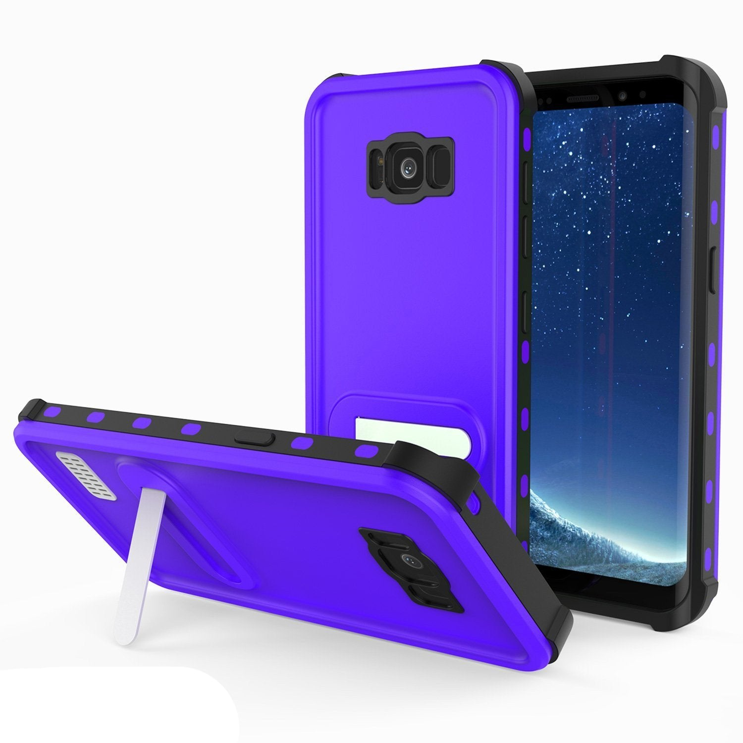 Protector [PURPLE]Galaxy S8 Waterproof Case, Punkcase [KickStud Series] [Slim Fit] [IP68 Certified] [Shockproof] [Snowproof] Armor Cover [PURPLE]