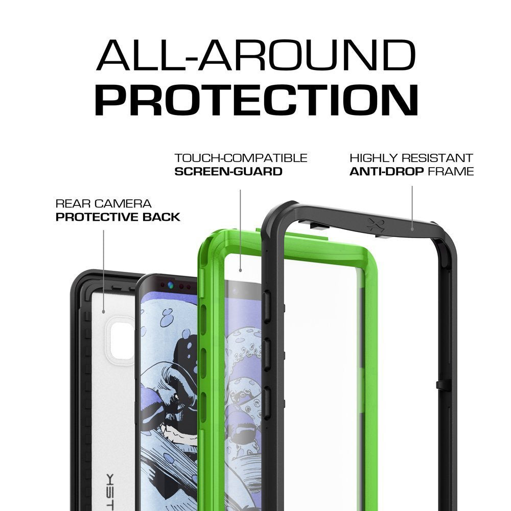 Galaxy S8 Waterproof Case, Ghostek Nautical Series (Green) | Slim Underwater Full Body Protection