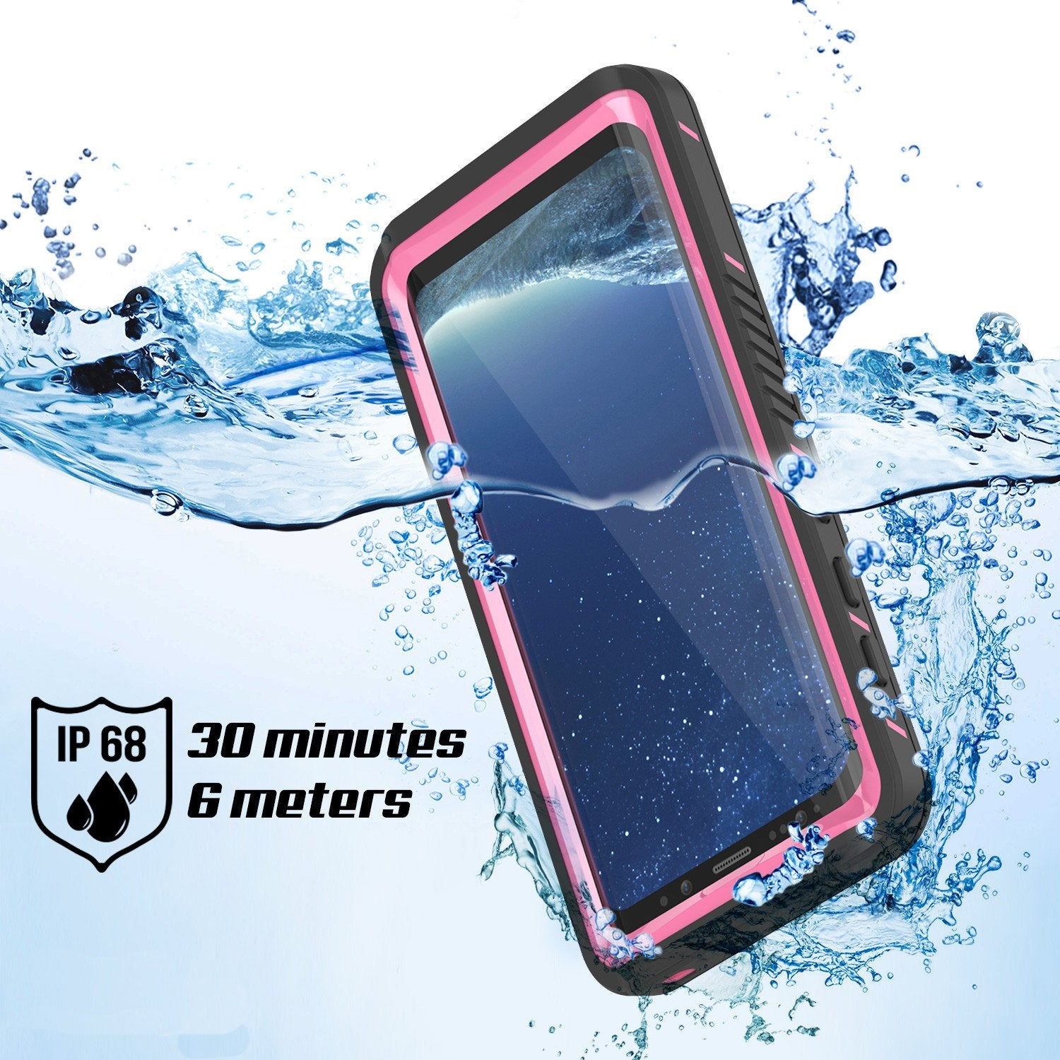 Galaxy S8 Waterproof Case, Punkcase [Extreme Series] [Slim Fit] [IP68 Certified] [Shockproof] [Snowproof] [Dirproof] Armor Cover W/ Built In Screen Protector for Samsung Galaxy S8 [Pink]
