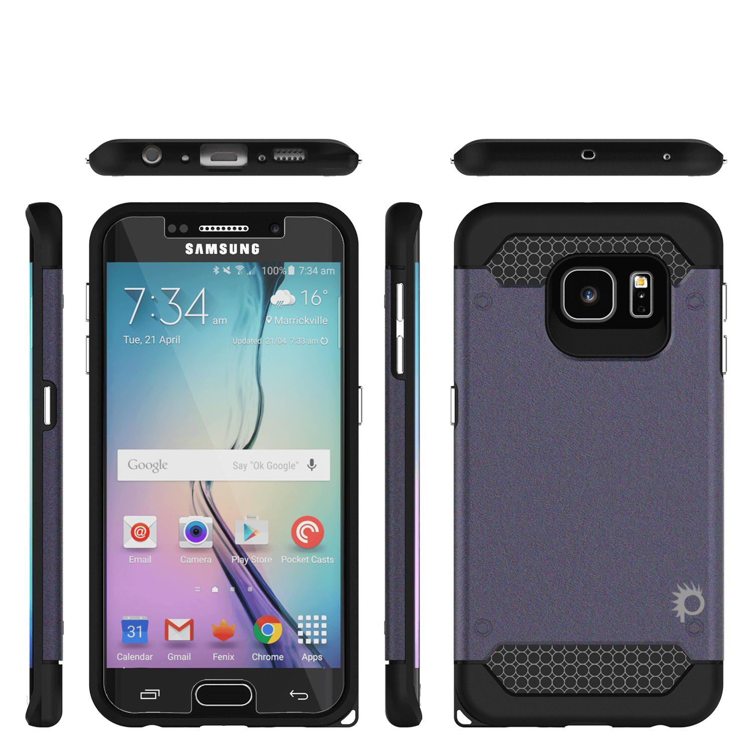 Galaxy s6 EDGE Plus Case PunkCase Galactic Black Series Slim Armor Soft Cover w/ Screen Protector