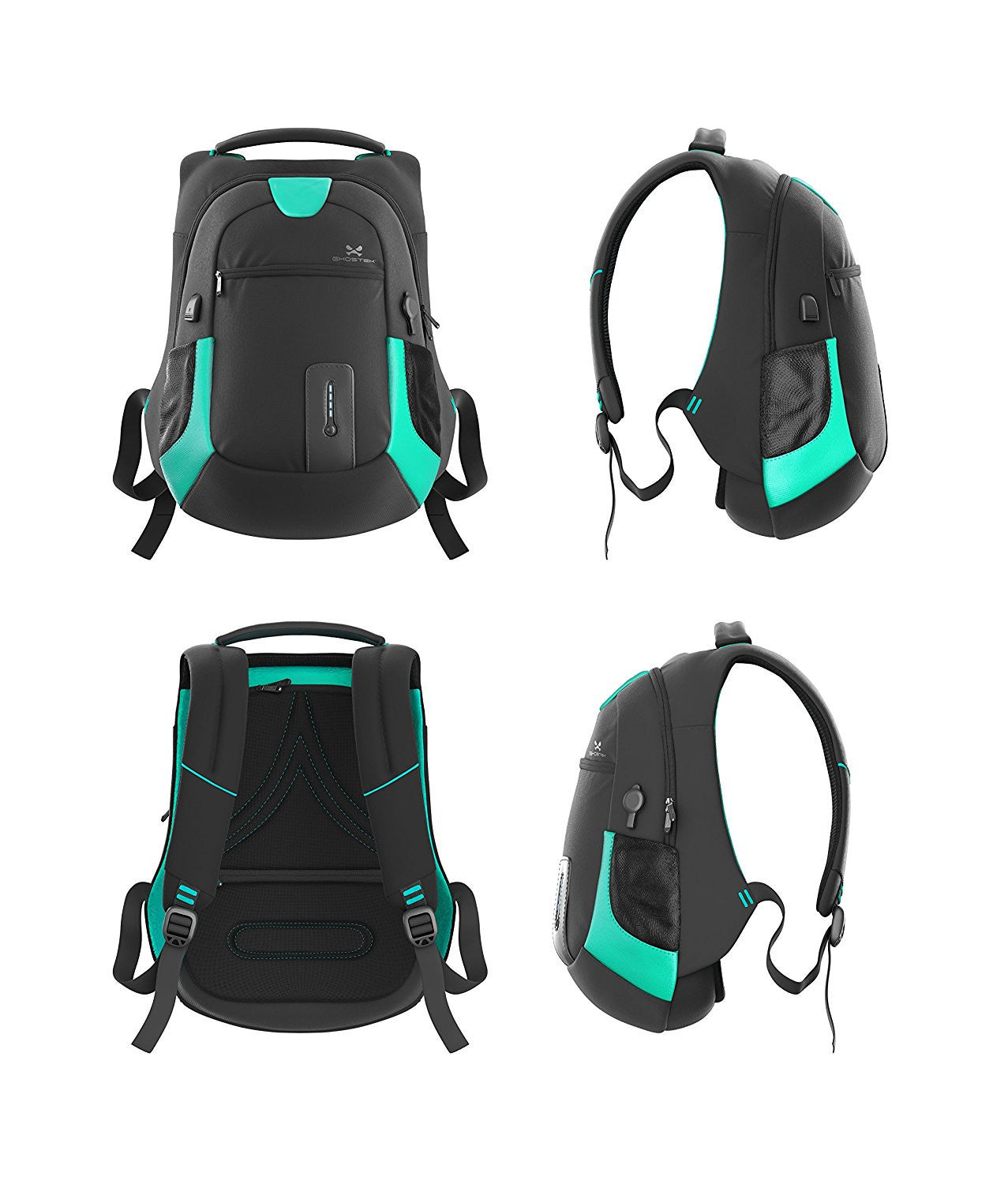 Ghostek NRGbag Teal Series Computer Laptop Messenger Backpack Book Bag + Battery Power Bank | Water Resistant | 7000mAh