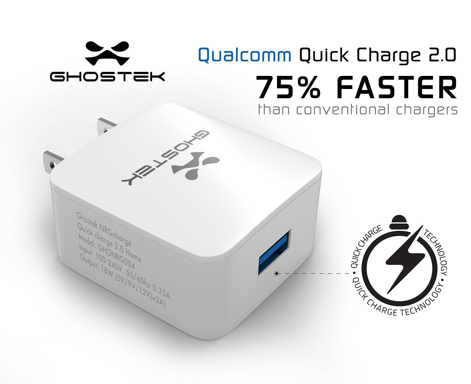 Ghostek® NRGcharge QuickCharge 2.0 Rapid High-speed Fast Wall Home White Charger w/ Micro USB Cable